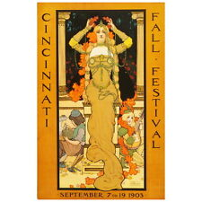 1903 Cincinnati Fall Festival Ad Poster Deco Magnet, Art Nouveau Decorative Gift