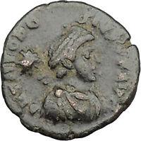 THEODOSIUS II & Honorius & Arcadius 406AD Ancient Roman Coin i32121