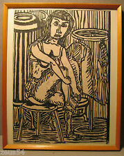 Frau im Bordell Holzschnitt Expressionist / Impressionist / DADA