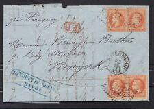 NAPOLEON LE HAVRE NEW YORK STEAMSHIP  N°31 paire x 2 voie paraguay 1870 COVER