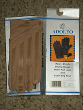 New Mens driving gloves warm knit lined grip palm Adolfo stretch tan