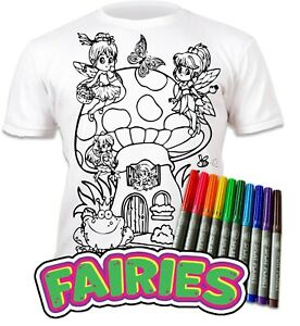 Splat Planet Colour-in Fairies T-Shirt with 10 Non-Toxic Washable Magic Pens