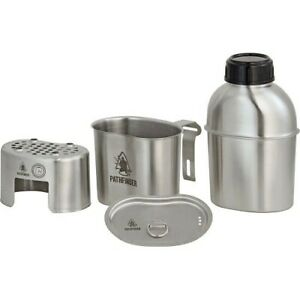 Pathfinder Canteen Cooking Set Steel Wide-Mouth Canteen Nesting Cup/Stove Pouch