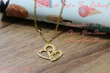 Names Birthstones Rose Plated Jewellery Personalised Double Heart Necklace Any