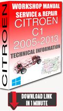 Service Workshop Manual & Repair CITROEN C1 2005-2013 +WIRING   FOR DOWNLOAD
