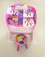 Girls Princess Dressing Table & Stool Set Kids Table Desk Toy Bedroom Furniture