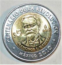 2010 MEXICO BIMETALLIC 5 PESOS coin COMMEMORATIVE Francisco Madero BU