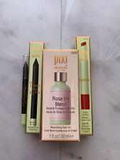 New Nib Pixi Lot Full Sized Rose Oil, Full Sized Tinted Lip & 2 Deluxe Eyeliners