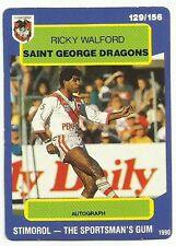 1990 NRL SCANLENS STIMOROL ST GEORGE DRAGONS RICKY WALFORD #129 CARD