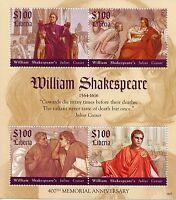 Liberia Famous People Stamps 2016 MNH William Shakespeare Julius Caesar 4v M/S