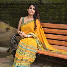 Yellow Georgette Printed Bollywood Saree Party Indian Pakistani Designer Sari