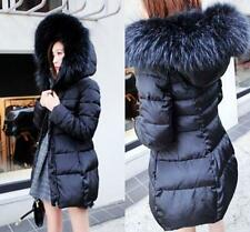 Hot Womens Winter Hoodies Jacket Down Cotton Padded Parkas Faux Fur Collar Coats