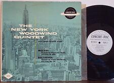 FRANK GLAZER-NEW YORK WOODWIND Mozart/Beethoven: Quintet RARE A1 CONCERT-DISC LP