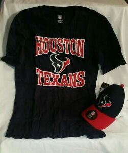 NFL Houston Texans Youth Boy's XL 18 Short Sleeve Tee Shirt and Hat Set New Tags