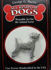 """Jack Russell Terrier Fine Pewter Dog Pin 1.5"""" Jewelry Art George G Harris NOS"""