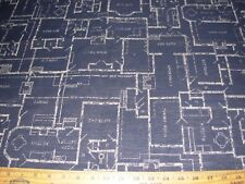 """~7 6/8 YDS~MODERN RETRO """"HOME SKETCHES PLANS""""~WOVEN UPHOLSTERY~FABRIC FOR LESS~"""