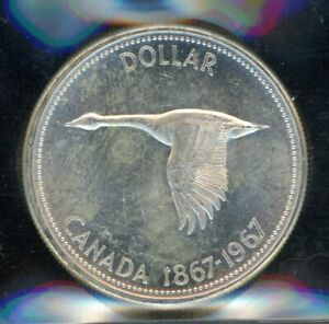 1967 Canada Centennial Silver Dollar - ICCS MS-64 Cert# XUB840