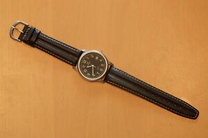 Edelstahl Armbanduhr 36mm JUNGHANS Quartz WR50 Lederarmband ungetragen