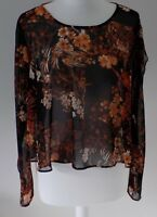 M&S Limited Edition Ladies Black Sheer Floral Top, Blouse, Summer Crop, 14, 16