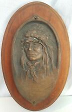 """Antique Bronze Plaque Native American Indian Chief Sculpture Artist done 10"""" old"""