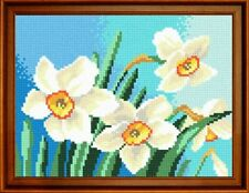 "Needlepoint tapestry painted canvas.Daffodils 10""x12""Gobelin H-46"