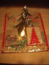 Rare 1940'S Foil Tabletop Ensign-Shaw New Canaan Conn Christmas Tree + Ornaments