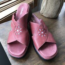 Clarks Red Leather Slides Sz 9N