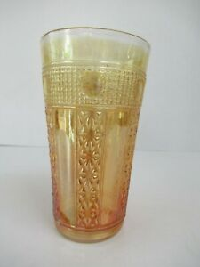 """Antique Jain Indian Carnival Glass Tumblers Embroidered Panels Gold Color """"F09"""