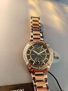 *BRAND NEW* Citizen Women's Eco-Drive Black Dial Pink Gold Tone Watch FD3003-58E