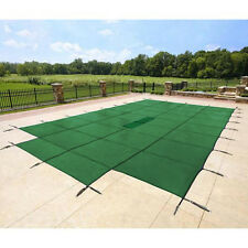 18x36 Rectangle Swimming Pool Winter Safety Cover Solid Green 12 Yr w/4'x8' Step