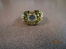 HGE Men's HANDSOME GOLD PLATED  Ring Size 11 FAUX DIAMOND  STONE  NEW