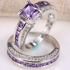 2pcs/set 925 Silver 2.5ct Amethyst Women Wedding Engagement Ring Set Gift Sz6-12