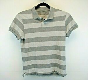 Old Navy Short Sleeve Men's Small Polo Shirt 2 Tone Gray Stripe Pattern Cotton