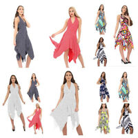 UK WOMEN LADIES BACKLESS HALTER NECK SUMMER HANKY HOLIDAY DRESS PLUS SIZE