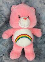 "Care Bears 2002 Pink Cheer Rainbow Bear Stuffed Animal Toy 13"""