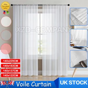 Voile Curtain Panel Lucy Slot Top Plain Curtain Top Quality Voile - Net & Voile