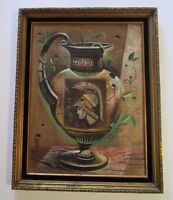 DUSSO PAINTING VINTAGE MID CENTURY MODERN ABSTRACT EXPRESSIONISM POT VASE URN