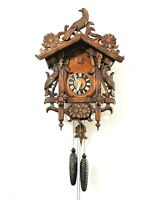 """Germany Black Forest Cuckoo Clock Birds Large 19"""" signed Jacobson"""