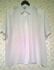 Vintage 90s White Blouse Shirt Top Womens Short Sleeve Size 14