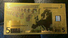 1 GRAM SILVER VALCAMBI SUISSE 999 Pure Bullion Bar in 24K Goldfoil $5 Euro Note