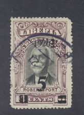 Liberia 1920, 5c on 10c Robertsport regis., left quad is UPRIGHT, used #182