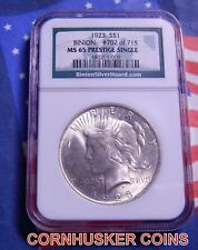 1923 BINION PEACE SILVER DOLLAR NGC MS65 PRESTIGE SINGLE 702 OF 715 CERTIFIED