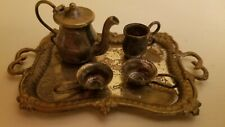Antique Doll Furniture Accessories Victorian Silver Tray, Teapot and Cups