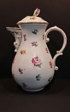 Antique Meissen Porcelain Coffee Pot with Rose Top Hand Painted Floral - 4 cups