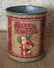 Primitive Country Vintage Christmas Tin Can