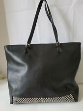 FURLA Classic Studded Black Saffiano Leather Shopper Tote Shoulder Bag