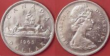 Brilliant Uncirculated 1965 Canada Medium Beads & Pointed 5 Silver 1 Dollar