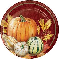 8 x Thanksgiving Harvest Paper Plates Pumpkin Leaves Thanksgiving Dessert Plates