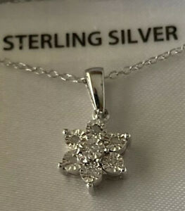 Sterling Silver Necklace And Star Shaped Diamond Pendant
