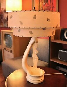 Vintage MCM Ceramic Lamp with Fiberglass Shade by Premco Mfg Co 1958